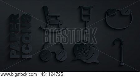 Set Grandmother, Eyeglasses, Walking Stick Cane, Crutch Or Crutches And Rocking Chair Icon. Vector