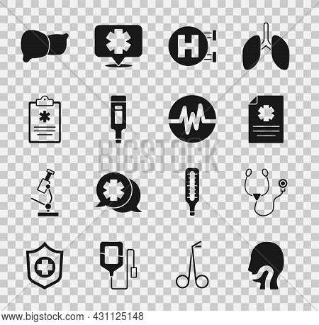 Set Sore Throat, Stethoscope, Clinical Record, Hospital Signboard, Digital Thermometer, Human Organ