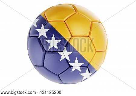 Soccer Ball Or Football Ball With Bosnian Flag, 3d Rendering Isolated On White Background