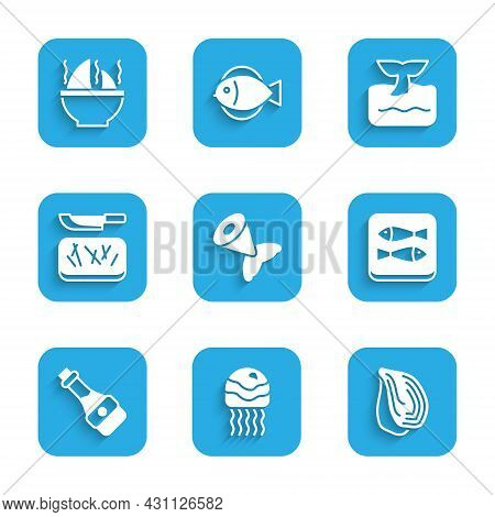 Set Fish Tail, Jellyfish, Mussel, Canned, Soy Sauce Bottle, Cutting Board And Knife, Whale Ocean Wav
