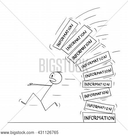 Person Running Away From Falling Pile Of Information, Information Overload, Vector Cartoon Stick Fig