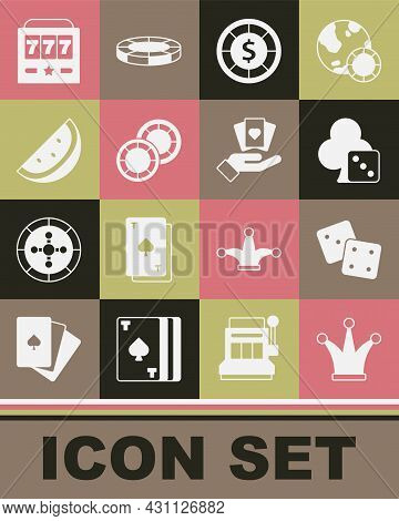 Set Joker Playing Card, Game Dice, Casino Chips, Slot Machine With Watermelon, Slot Jackpot And Hand