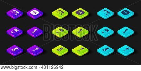 Set Tripod, Softbox Light, Photo Camera Flash, Auto And Retouching Icon. Vector