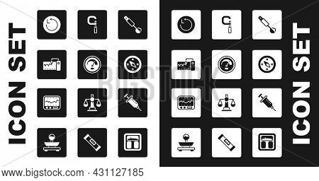 Set Measuring Spoon, Speedometer, Instrument, Radius, Compass, Micrometer, Syringe And Icon. Vector
