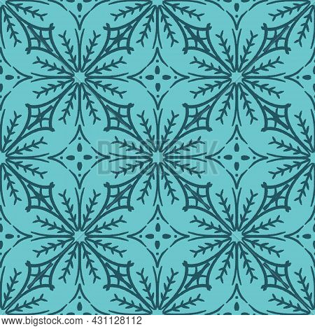 Turquoise Winter Snowflake Seamless Tile Pattern With Geometric Abstract Flowers - Azulejo Inspirati