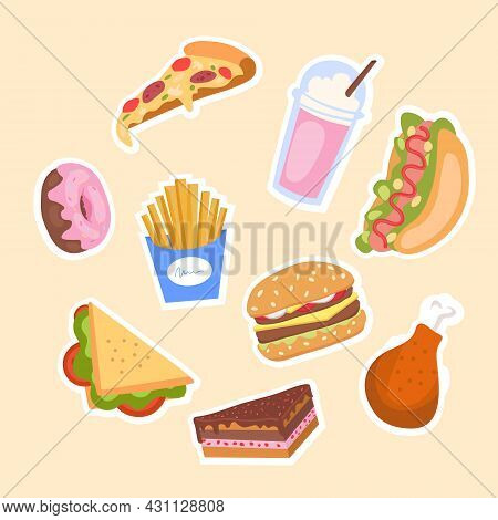 Set Of Unhealthy Junk Food. Fastfood And Sweets Icons. Design Element For Cafe Menus. Pizza, Burger,