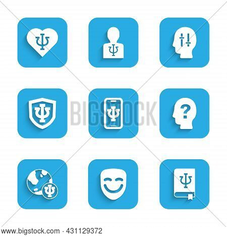 Set Psychologist Online, Comedy Theatrical Mask, Psychology Book, Psi, Head With Question Mark, Psyc