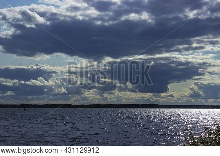 Beautiful Orange Sunset In The Blue Sky On The Volga River Calm Water With