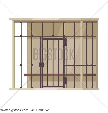 Law Justice Composition With View Of Cage For Prisoners In Criminal Court Vector Illustration