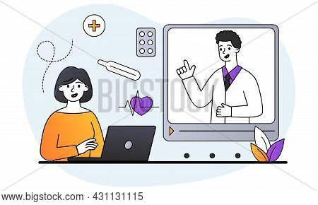 Consulting Doctor Online. Woman Communicates With Doctor By Video Link. Therapist Makes Diagnosis An