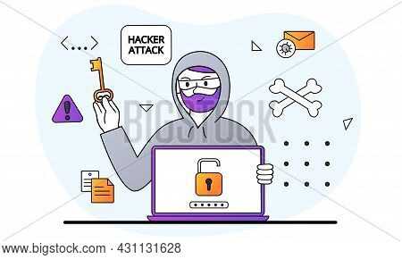 Hacker Activity Concept. Man Hacks Computer And Steals Information. Cyber Crime And Personal Data Pr