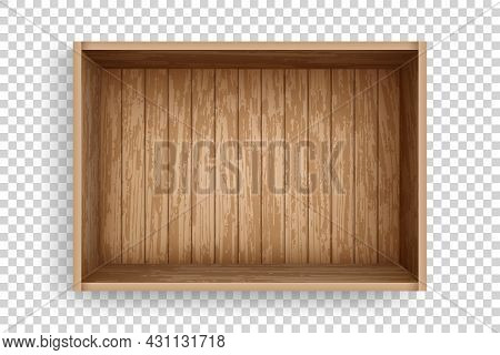 Realistic Wooden Box Of Old Planks. Empty Crate Made Of Planks With Top View. Open Cargo Box Mockup