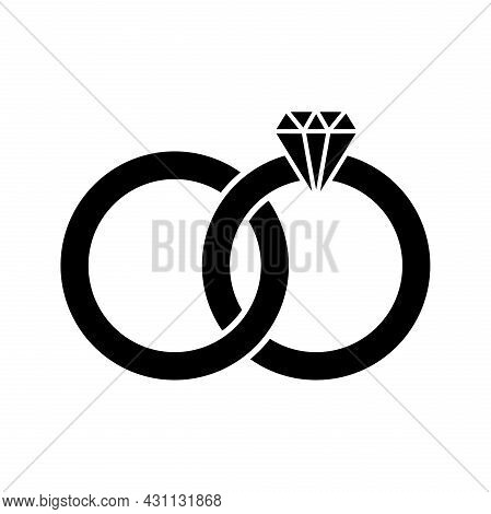 Diamond Ring Icon Isolated Design Illustration. Diamond Ring Icon Simple Sign. Trendy And Modern Rin