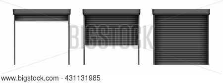 Black Roller Shutter Gate Set. Open And Closed Roller Shutter Doors For Security Decoration Design.