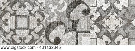 Digital Tiles Design. 3d Render Colorful Ceramic Wall Tiles Decoration. Abstract Damask Patchwork Pa