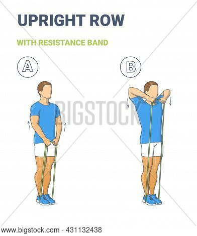 Guy Doing Upright Row Home Workout Exercise With Thin Resistance Band Or Elastic Loop Guidance.