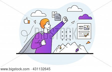 Creating Posts Concept. Man In Superhero Raincoat Happy About Successful Article In Newspaper. Profe