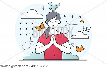 Mental Wellness Concept. Woman Meditates And Experiences Harmony With Herself And With World Around