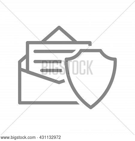 Protective Shield And Letter In An Envelope Line Icon. Antivirus, Email Protection, Configuring Emai