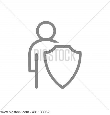 Protective Shield And Human Line Icon. Personal Safety, Bodyguard, Protection Of People