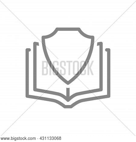 Protective Shield And Open Book Line Icon. Protection Of Information, Protection Of Printed Publicat