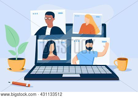 People Character Working Remote At Home And Using Laptop For Video Meeting With Colleagues And Frien