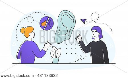 Sign Language Concept. Deaf Friends Talk Using Hand Gesture. Large Ear With Sign Of Absence Of Sound