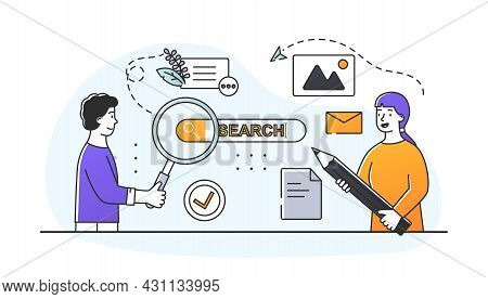 Concept Of Seo. Optimization Of Content For Search Engines. Algorithm For Increasing Site Traffic. W