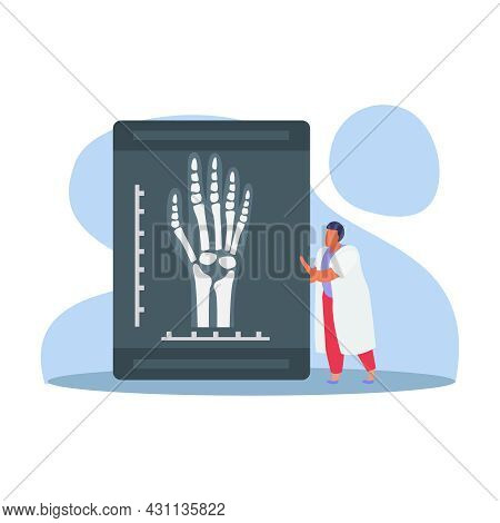Orthopedics Clinic Flat Composition With Radiogram Of Human Hand With Bones And Small Doctor Charact