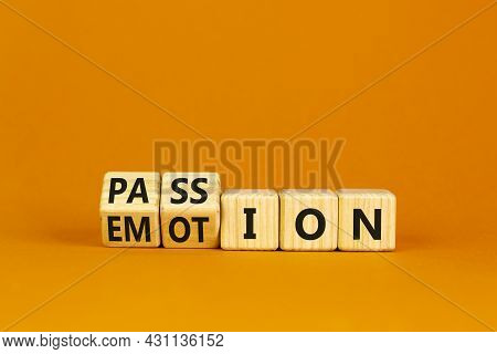Passion Or Emotion Symbol. Turned Wooden Cubes And Changed The Word 'emotion' To 'passion'. Beautifu