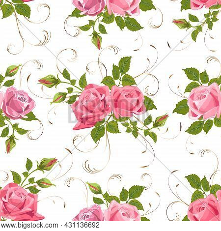 A Bouquet Of Roses In A Vector Pattern.bouquet Of Elegant Roses With Decor On A White Background In