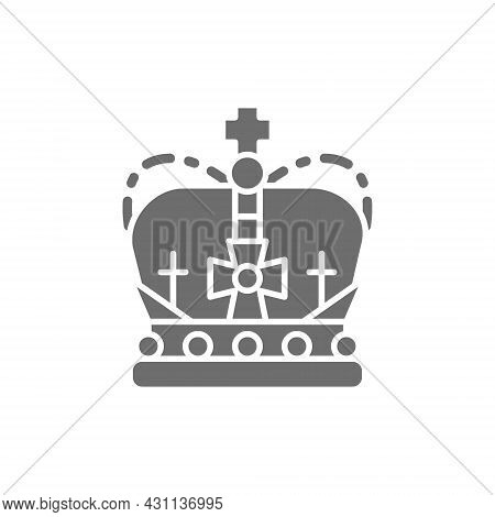 Crown, Monarchy, Royal Power Grey Icon. Isolated On White Background