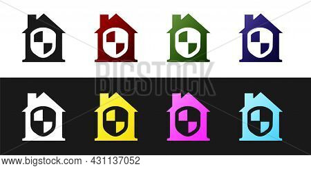 Set House Under Protection Icon Isolated On Black And White Background. Home And Shield. Protection,