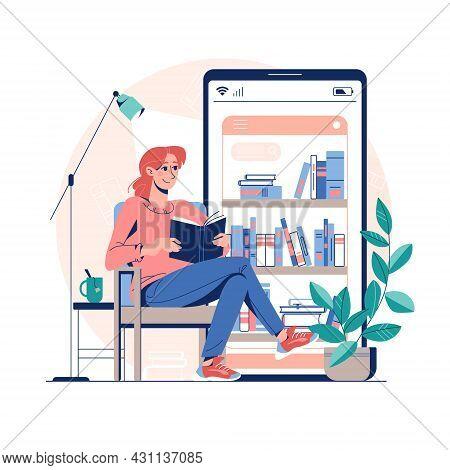Online Library, E-book Reading Concept. Vector Illustration Virtual Library On A Mobile App. Applica