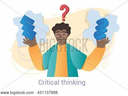 Young Male Character In Glasses Is Having A Critical Thinking On White Background. Concept Of Young