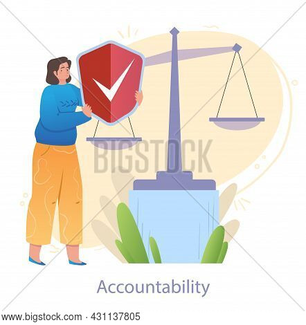 Cheerful Female Character Is Holding A Shield On Scales To Show Her Accountability On White Backgrou