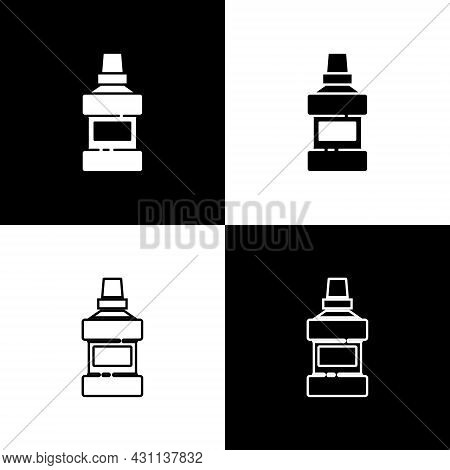 Set Mouthwash Plastic Bottle And Glass Icon Isolated On Black And White Background. Liquid For Rinsi