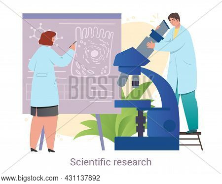 Male And Female Medical Workers Are Conducting Scientific Research Together On White Background. Con