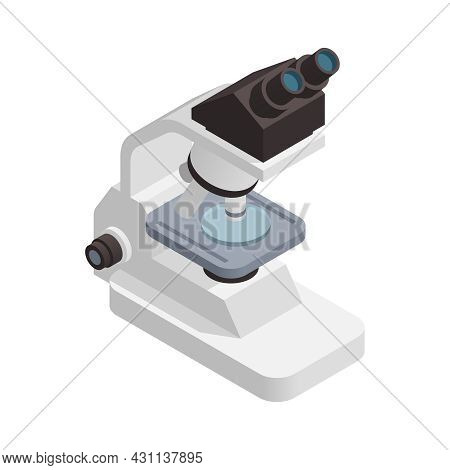 Microbiology Biotechnology Isometric Composition With Isolated Image Of Laboratory Microscope Vector