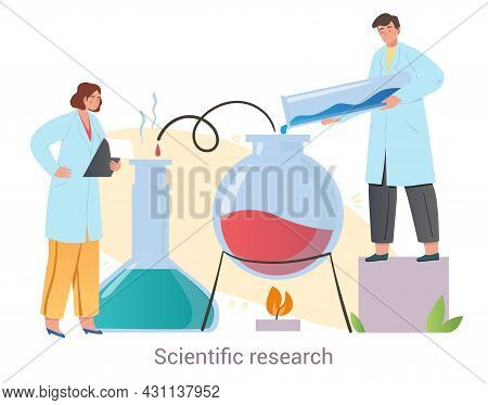 Two Professional Medical Workers Are Conducting Scientific Research Together On White Background. Co