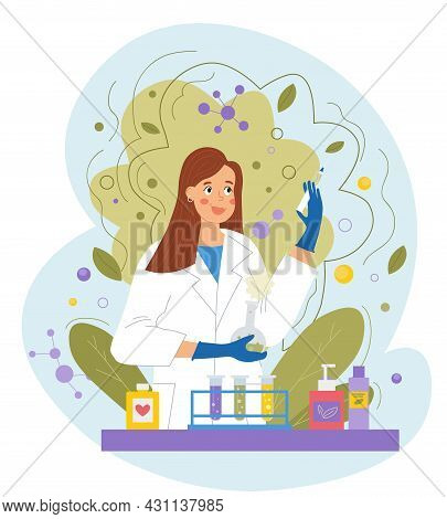 Smiling Female Scientist Or Pharmacist Invents Natural Organic Formula Of Cosmetics On White Backgro