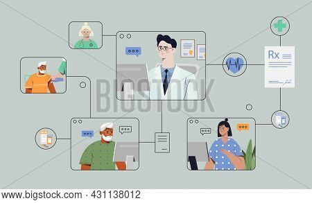Male Doctor Is Having Patient Visits Via Online Meeting On Grey Background. Patients Connecting Onli