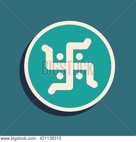 Green Hindu Swastika Religious Symbol Icon Isolated On Green Background. Long Shadow Style. Vector