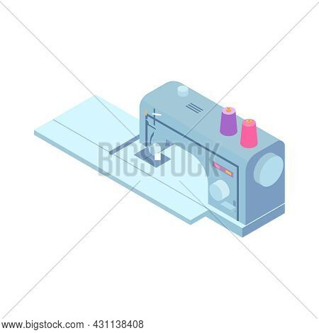 Isometric Sewing Workshop Studio Composition With Isolated Image Of Sewing Machine Vector Illustrati