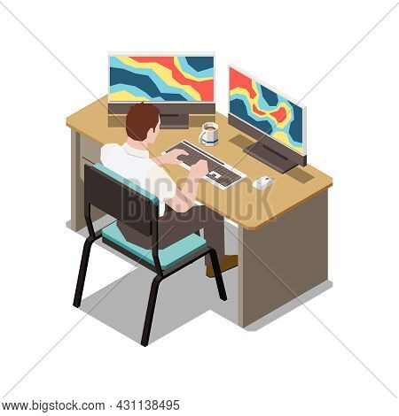 Meteorology Weather Forecast Isometric Composition With View Of Worker Analyzing Meteorological Data