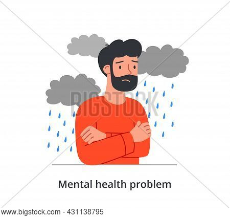 Sad Male Character Is Having A Mental Health Problem On White Background. Concept Of Stressed People