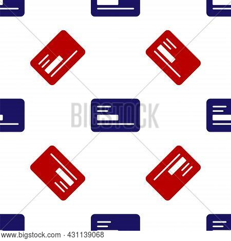 Blue And Red Visiting Card, Business Card Icon Isolated Seamless Pattern On White Background. Corpor