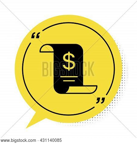 Black Paper Or Financial Check Icon Isolated On White Background. Paper Print Check, Shop Receipt Or