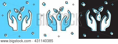 Set Plant In Hand Of Environmental Protection Icon Isolated On Blue And White, Black Background. See