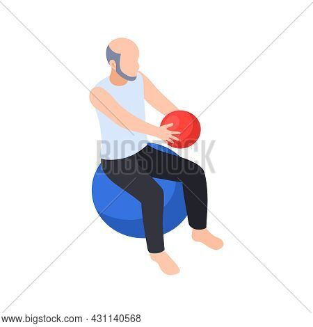 Physiotherapy Rehabilitation Isometric Composition With Patient Sitting On Big Rubber Ball With Smal
